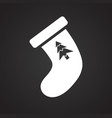 christmas stocking icon on black background for vector image