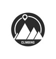 climbing logo with map pin vector image