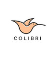 colibri or hummingbird logo design with simple vector image vector image