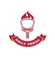 daily fresh pizza logo with fire on wood board vector image vector image
