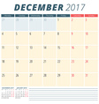December 2017 Calendar Planner for 2017 Year Week vector image vector image
