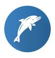 dolphin blue flat design long shadow glyph icon vector image