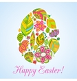 Easter flowers egg background Doodles ornament for vector image