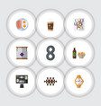 Flat icon oneday set of cappuccino beer with