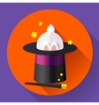 Funny Rabbit in a magic hat vector image vector image