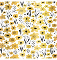 gold foil flower field seamless pattern vector image vector image