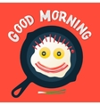 Good morning - smiling face make with fried eggs vector image vector image