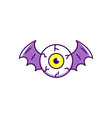 halloween eye icon eye with bat wings colorful vector image