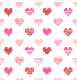 hand-drawn doodle hearts seamless pattern vector image vector image