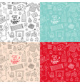 Hand drawn seamless patterns with hygge elements