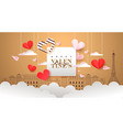 happy valentines day greeting card pink paris vector image vector image