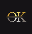 initial monogram letter ok logo design template vector image vector image