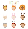 Kids party outfit Children in animal carnival vector image vector image