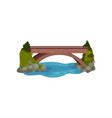 large bridge over river green bushes and grass vector image vector image