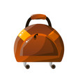 leather wheeled suitcase traveler luggage travel vector image vector image