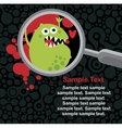 Magnifying glass and microbe in it vector image vector image