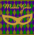 mardi gras background with golden fat tuesday vector image