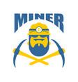 miner logo mener logo bitcoin crypto currencies vector image vector image