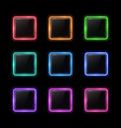neon square shape frame set with glass texture vector image vector image