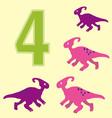 Number 4 Four dinosaur Parasaurolophus vector image
