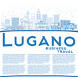 outline lugano switzerland skyline with blue vector image