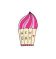pink cupcake hand drawn vector image vector image