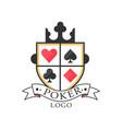 poker logo design vintage emblem for gambling vector image vector image