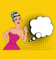 pop art pretty woman posing with thumb up sign vector image vector image