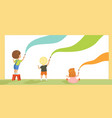 preschool kids painting with brushes and paints on vector image