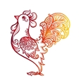 Red fiery hand drawn ornate rooster - Chinese vector image vector image