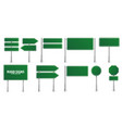 road green traffic signs set blank board vector image vector image