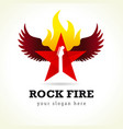 rock fire flying logo vector image
