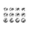 set earth globe icons in flat and linear vector image vector image