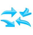 set of blue 3d shiny arrows vector image vector image