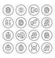set round line icons of smart watch vector image vector image