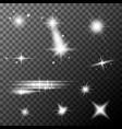 set white lens flares white sparkles shine vector image
