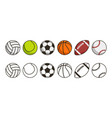 sport ball set game balls icons volleyball vector image vector image