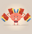 strong smart brain character mascot vector image vector image