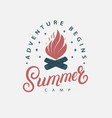 summer camp hand written lettering vector image