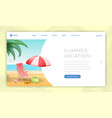 summertime vacation landing page template seaside vector image vector image