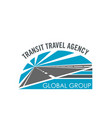 transit travel agency road icon vector image vector image