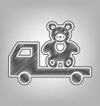 truck with bear pencil sketch imitation vector image vector image