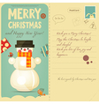 Vintage Postcard with Snowman vector image vector image