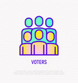 voters group people thin line icon vector image