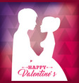 white silhouette of couple love together with pink vector image vector image