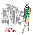 woman walking near Milan vector image vector image
