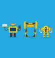 yellow robot character technology future vector image vector image
