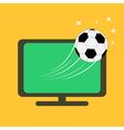 Football soccer ball flying from TV set Orange vector image