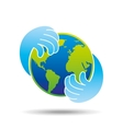 hands hold globe environment earth icon vector image