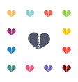broken heart flat icons set vector image